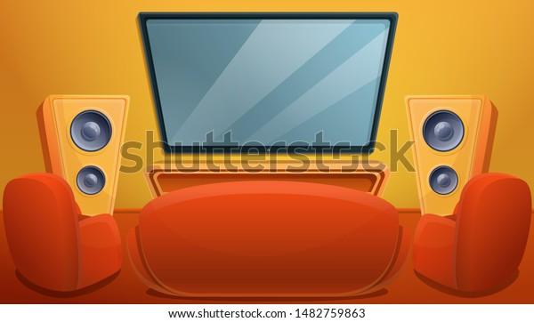 Cartoon Living Room Tv Sofa Armchairs Stock Vector Royalty Free 1482759863