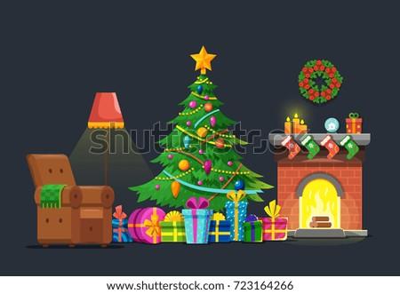 Cartoon Living Room Xmas Tree Fireplace Stock Vector Royalty Free