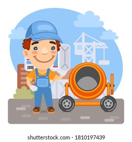 Cartoon loader worker carries a bag of cement in a concrete mixer at construction site. Composition with a professional. Flat male character.