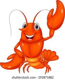 Cartoon lobster waving on white background