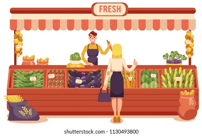 Cartoon local farmer market concept with young woman buying food in wooden store with vegetables and smiling seller man holding carrot. Rural shop, marketplace scene. Vector illustration