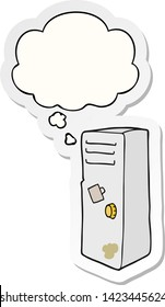 cartoon locker with thought bubble as a printed sticker