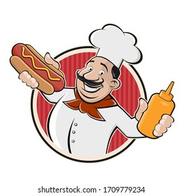 Cartoon logo of a chef serving a hot dog. Vector illustration.