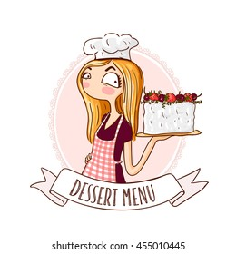 Cartoon logo.  Cute woman dressed in a cook cap and with a strawberry cake.