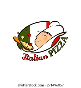 Cartoon Logo Pizza Chef In Front Of Flag Of Italy For Your Design