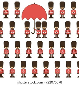 cartoon London pattern with queen guard