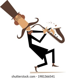 Cartoon long mustache saxophonist illustration isolated. Smiling mustache man in the top hat is playing music on saxophone with inspiration isolated on white