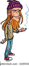 Cartoon loser with long hair smoking. Isolated