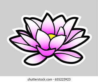 Cartoon lotus flower. Gray background on separate layer for easy editing & removal.