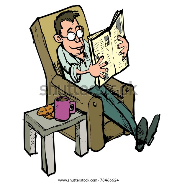 Groovy Cartoon Lounge Chair Reading Newspaper Coffee Royalty Free Squirreltailoven Fun Painted Chair Ideas Images Squirreltailovenorg