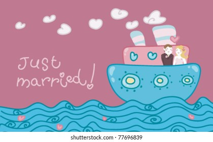 Cartoon love boat with a just married couple.