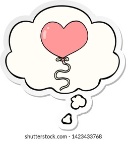 cartoon love heart balloon with thought bubble as a printed sticker