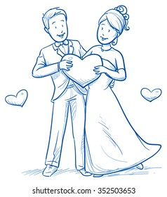 Cartoon love wedding couple for engagement or marriage invitation, save the date card. Hand drawn vector illustration