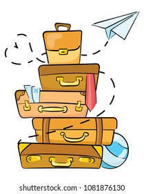 Cartoon luggage for traveling. Illustration for travel agencies. A lot of luggage lying on top of each other. Drawing for children.