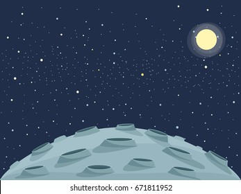 Cartoon lunar landscape. Clipart image