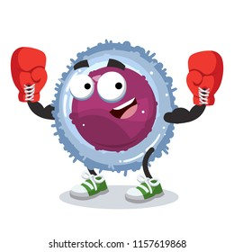 cartoon lymphocyte cell mascot in red boxing gloves on white background