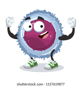 cartoon lymphocyte cell mascot shows its strength on a white background