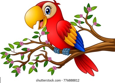 Cartoon macaw on tree branch