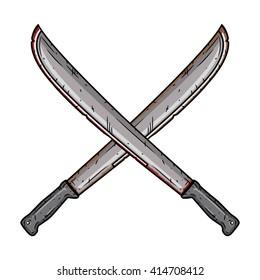 Cartoon machete. Two isolated crossed machetes