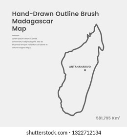 Cartoon Madagascar Map, Hand Drawn Madagascar Map, Doodle Madagascar Map Vector Outline Style Map Information
