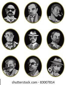 cartoon mafia icon set,label button