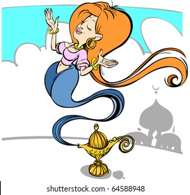 Cartoon magic girl in a lamp.