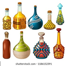 Cartoon magical drinks or poison in glass bottle, decorated with precious stone, ornament and wood. Set elixirs of pirates for computer game on white background. Isolated vector illustration.