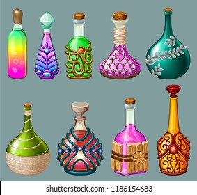 Cartoon magical drinks or poison in glass bottle, decorated with precious stone, ornament and wood. Set elixirs for computer game on grey background. Isolated vector illustration.