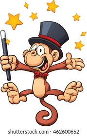 Cartoon magician monkey. Vector clip art illustration with simple gradients. Stars and monkey on separate layers.
