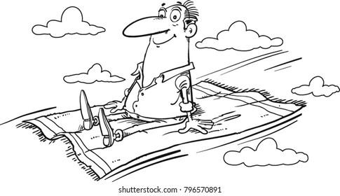 Cartoon Magician on flying magic carpet