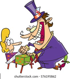 cartoon magician preforming a trick