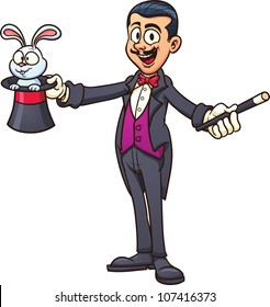 Cartoon magician with rabbit. Vector illustration with simple gradients. All in a single layer.