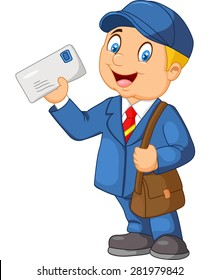 Cartoon Mail carrier with bag and letter
