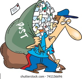 cartoon mail man carrying a huge bag of letters