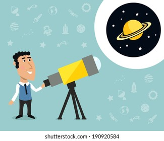 Cartoon male astronomer observes jupiter in telescope print with space elements on background vector illustration