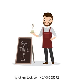 Cartoon male barista or waiter standing near menu board, handsome caucasian man character in uniform, restaurant or coffee shop staff,isolated on white,flat vector illustration
