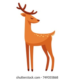 Cartoon male deer drawing. Elegant stag with antlers vector illustration.