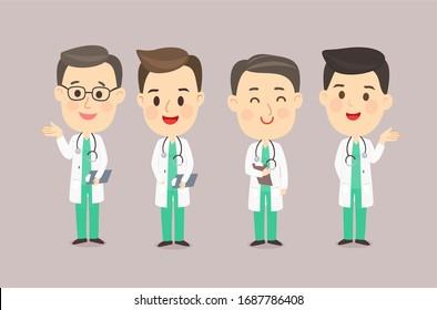 Cartoon Male Doctor Team Vector