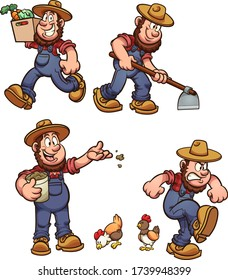 Cartoon male farmer performing different activities. Vector cartoon clip art illustration with simple gradients. Some elements on separate layers.