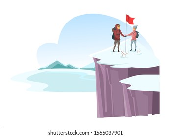 Cartoon male and female alpinist mountaineer on snowy cliff top. Cartoon man and woman together going up mountain peak and putting red flag. Conquering summit. Winter tourism. Vector flat illustration