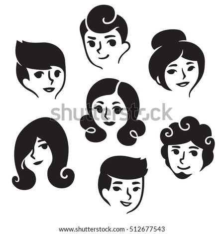 Cartoon Male Female Faces Different Hairstyles Stock Vector Royalty