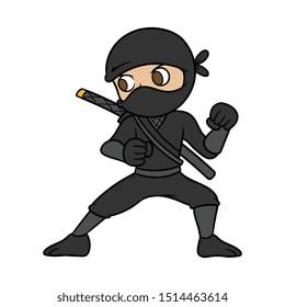 Cartoon Male Ninja Vector Illustration