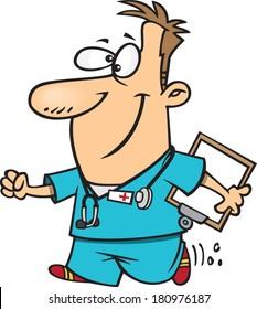 cartoon male nurse