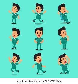 Cartoon male nurse character poses