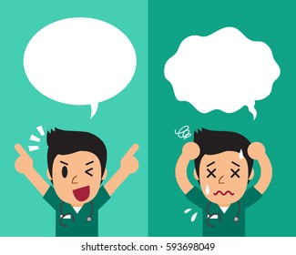 Cartoon male nurse expressing different emotions with speech bubbles