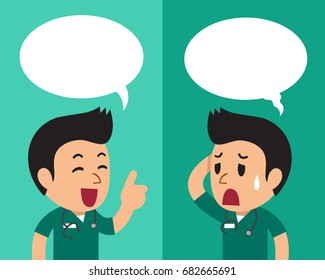 Cartoon a male nurse expressing different emotions with speech bubbles