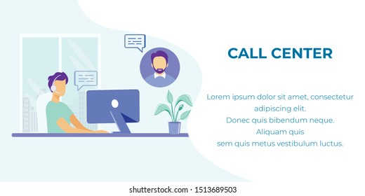 Cartoon Male Operator with Headset Sitting at Office and Having Conversation with Customer, Consulting Client Illustration. Online Global Support in Call Center. Advertising Flat Vector Banner