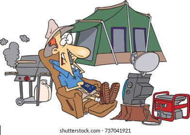 cartoon male ultra camper with the luxuries of home