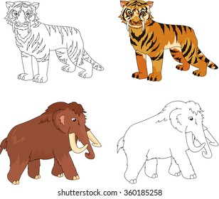 Cartoon Mammoth And Saber Toothed Tiger Educational Game For Kids Coloring Book