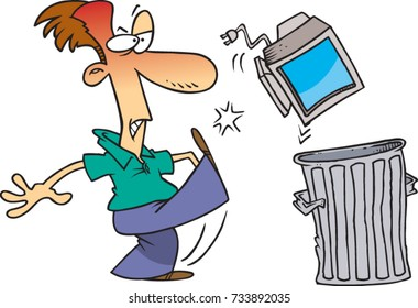 cartoon man angrily kicking his computer into the trash